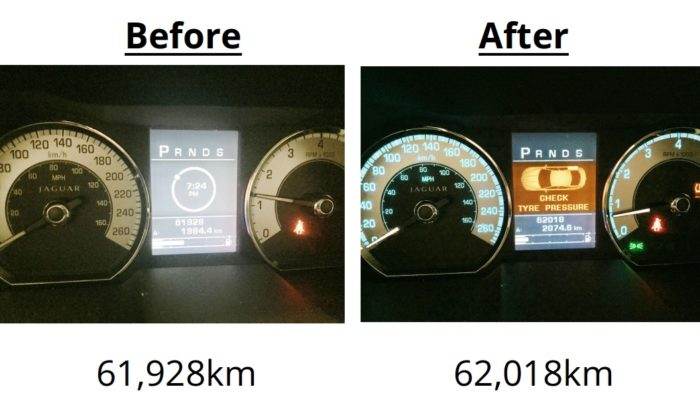 Dov's odometer, before and after